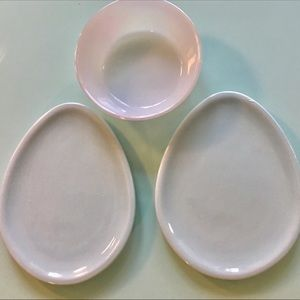 Iridescent small bowl & 2 small egg shape dishes